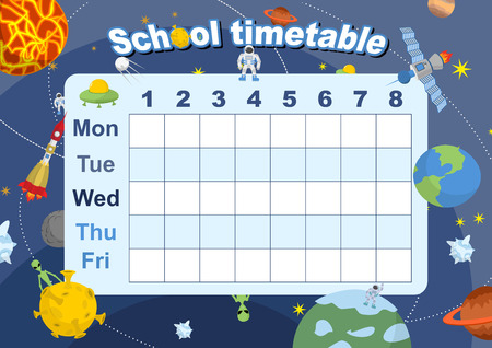 timetable: Schedule. School timetable on theme of space and Galaxy. Vetkor illustration. Days of week. Timetable of lessons for students Illustration