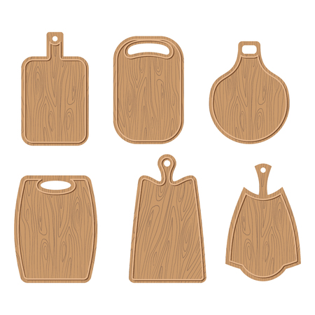 Wooden cutting board set. Kitchen cutting board Brown. Vector illustration
