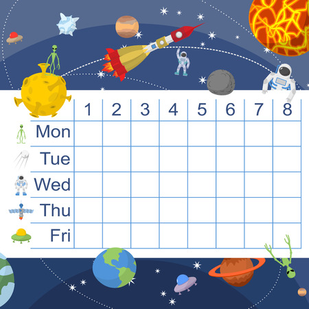 bookbag: Schedule for students. Table with lessons for children. Space design: aliens and flying saucer and rocket astornavt.  Earth and moon. Vector illustration.