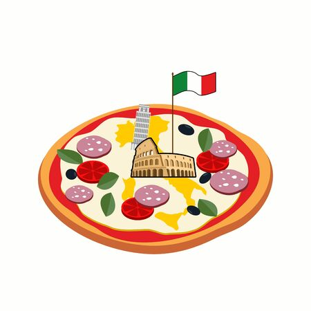colosseo: Italian pizza. Cheese in form of a silhouette map of Italy with Colosseum and flag.