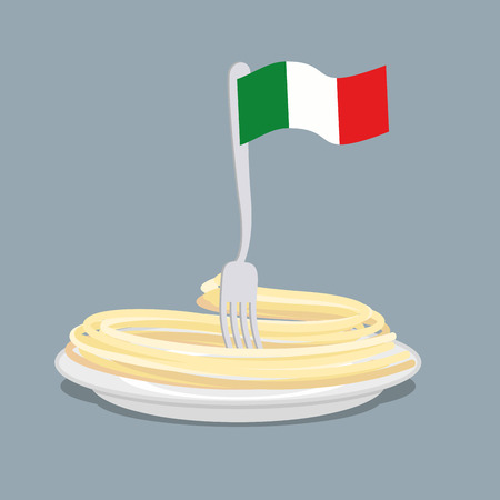europe closeup: Plate of pasta with flag of Italy. Spaghetti with a fork. Vector illustration of traditional Italian food Illustration