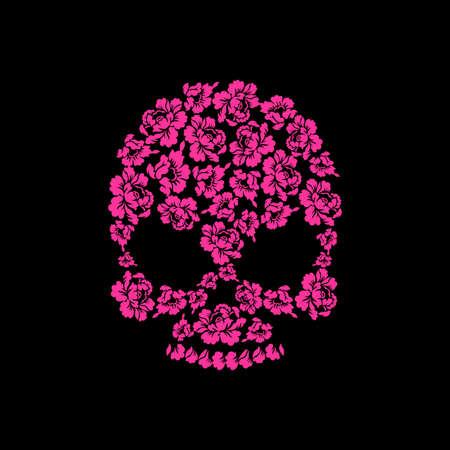 white sugar: Skull of roses on a black background. Flower skull man. Vector illustration