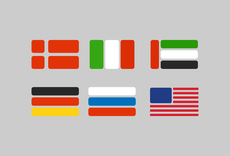 flags vector: Set of flags, stylized flags from geometry: Russia, Germany. USA and Italy. Vector illustration