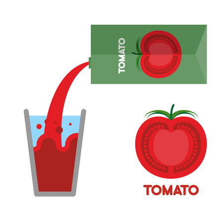 tomato juice: Tomato juice. Pour tomato juice into glass. Vector illustration. Splash in a glass.