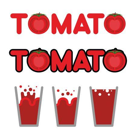tomate: Jus de tomate. Ensemble de tasses et tasses de jus de tomate. Lettres et tranche de tomate. illustration vectorielle