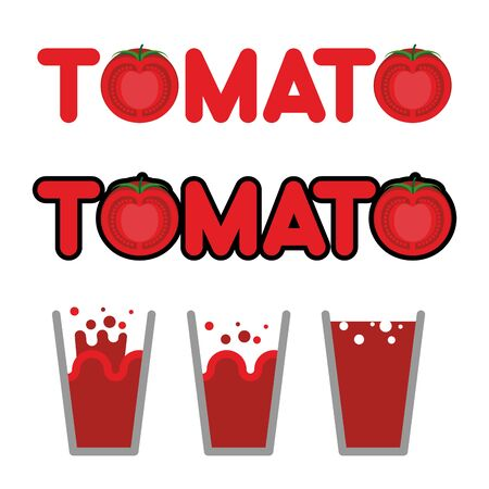 tomato juice: Tomato juice. Set of cups and mugs with tomato juice. Letters and slice of tomato. vector illustration Illustration