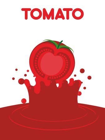 tomato juice: Tomato juice falls. Splash of tomato juice. Vector illustration of a drink