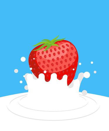 illustration of food: Rojo fresa madura cae en la leche fresca en un fondo azul. Las salpicaduras de leche blanca. Ilustraci�n vectorial de alimentos.
