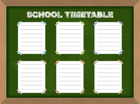 classes schedule: School schedule. School Timetable stickers on Blackboard. Vector illustration.