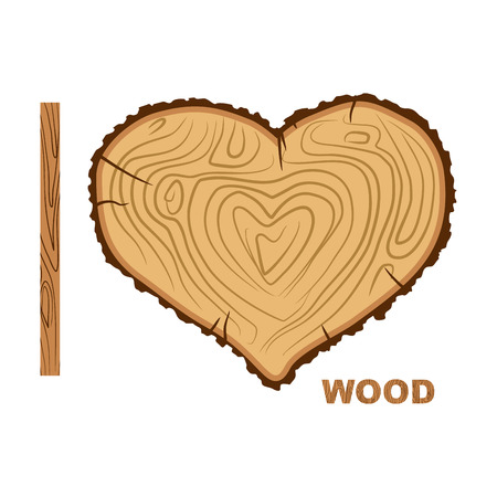 I love wood. Cutting tree as a symbol of heart. Vector illustration. Wood rings and bark.