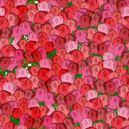 flower ornament: Red and pink roses seamless pattern. Vector floral background of rose buds. Illustration