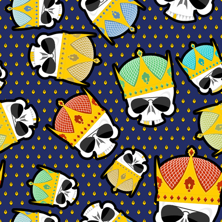 skull with crown: Skull Crown Seamless pattern. Vector background for Kings of streets.
