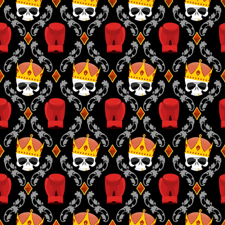 bullies: Skull Crown and boxing gloves with Baroque elements seamless pattern. Background for a street gang of bullies. Illustration