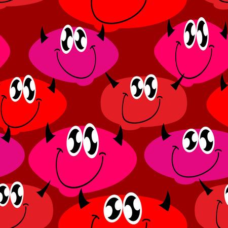 devil girl: Red Devil seamless pattern. Many Devils. Vector background Illustration