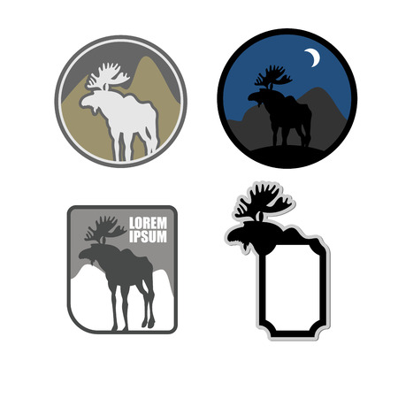 hunters: Set of icons moose. Emblem for hunters or for natural park with wild animals. Vector illustration