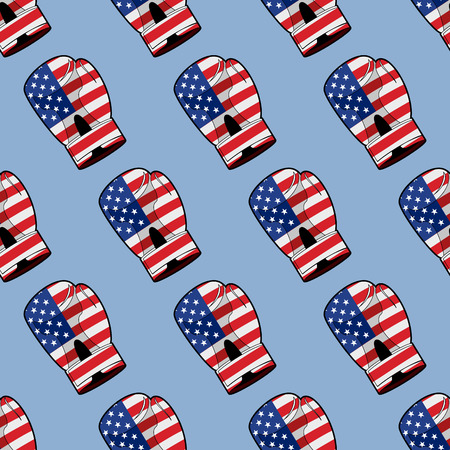 patriots: Boxing Glove with flag of America seamless pattern. Sporty accessory for Patriots. Vector background