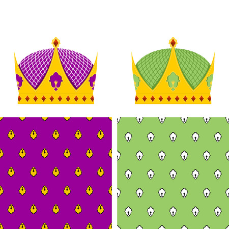 mantle: Royal Set: seamless pattern for mantle and a Golden Crown for King. Vector illustration for the Kingdom