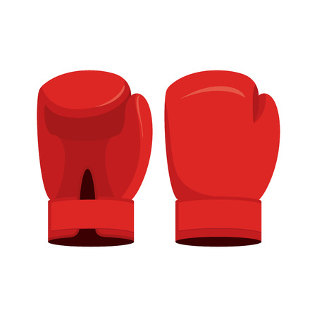 boxing knockout: Red boxing gloves on a white background. Sports Accessory vector illustration