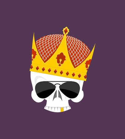 esqueleto: Corona del cr�neo. Esqueleto de la cabeza blanca en puntos Sun, y con dientes de oro. Vector emblema para los matones de patio. Emblema de las pandillas. Due�os de la calle