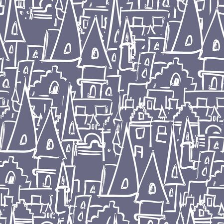 old buildings: Royal Castle with towers seamless pattern. Vector background of old buildings