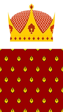 armory: Set Crown and mantle. Royal Crown. Jewelry accessory made of gold for the King. Seamless pattern Royal mantle. Vector illustration