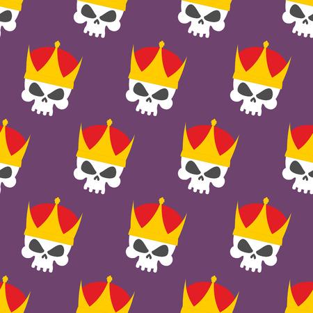 skull with crown: Skull Crown Seamless pattern. Vector background head skeleton
