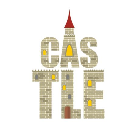 castle door: Castle with  Red Tower. Letters from the stones. Vector illustration of a historic Royal Castle with Windows and a wooden door. Illustration