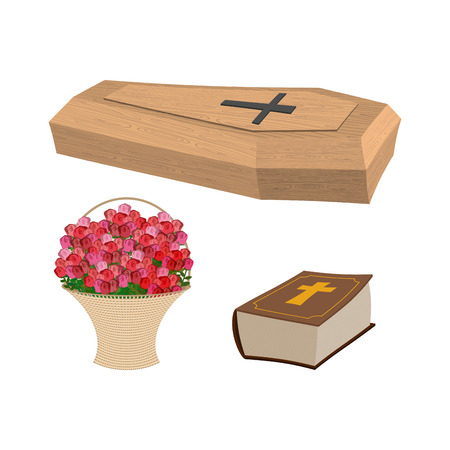 burial: Set of funeral, Coffin and Bible. Basket of flowers for burial of dead Illustration