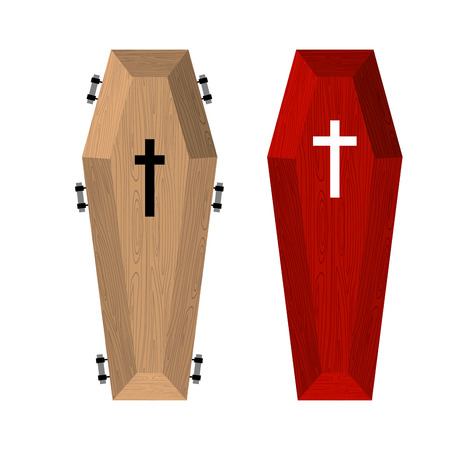 Set of coffins. Red beautiful expensive coffin and a wooden coffin