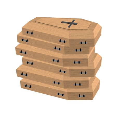 coffins: pile of coffins