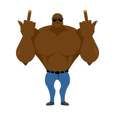 fanatic: Big strong man Bodybuilder in jeans shows fuck Illustration