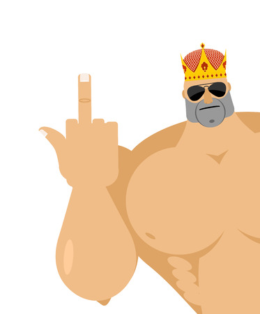 hooligan: Healthy guy fuck shows. Strong male finger fuck off. Bully in Crown and dark glasses. Vector illustration of a bad guy hooligan.