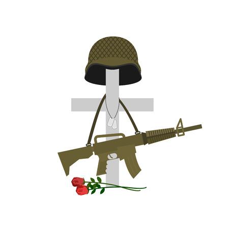 memorial cross: La tumba de un soldado caído. La muerte de los militares. Cruz y casco. Pistola automática que cuelga en monumento. Tumba de un veterano militar. Ilustración del vector del Día de los Caídos