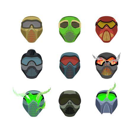 devilish: Set helmets and masks for sports. Devilish horrible masks. Scary Helmets for Paintball and motorcycle racing. Vector illustration
