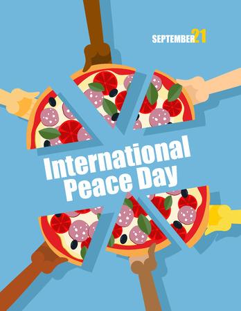 paloma caricatura: Día de la Paz. 21 fiesta internacional septiembre. La gente come pizza. Pizza grande corta en trozos. Cartel del vector para el evento. Vectores