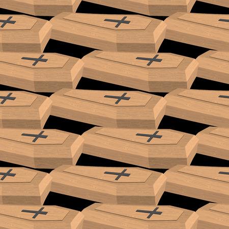hearse: Wooden coffins seamless pattern. Vector background cemetery