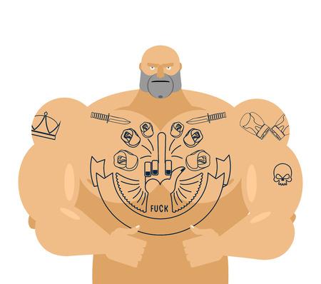 shirtless: Man tattoos fuck. Bandit with big muscles Illustration