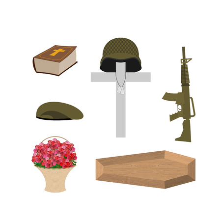 Soldier funeral Accessories: machine gun and soldiers badge. Cross, coffin and Bible. Big basket of red roses Illustration