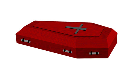 Burgundy expensive coffin for rich with handles on a white background