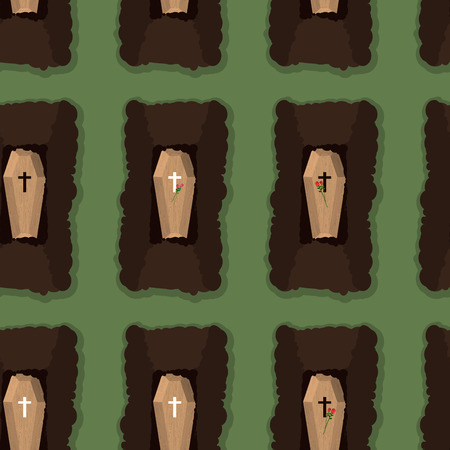 coffins: Top view of cemetery. seamless pattern coffins. Vector illustration of burial place Illustration