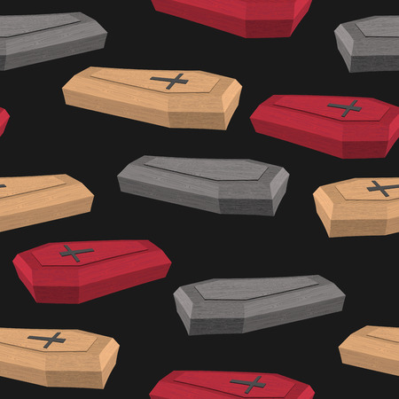 coffins: Colourful coffins seamless pattern on a black background Illustration