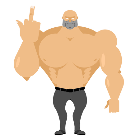 ruffian: Strong man in jeans with big muscles shows fuck Illustration