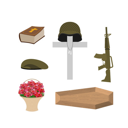 big bible: Death of a military veteran. Soldier funeral Accessories: machine gun and soldiers badge. Cross, coffin and Bible. Big basket of red roses. Vector set of grief  of Memorial Day