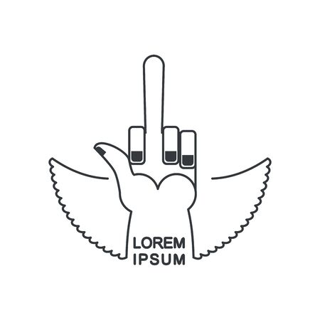 obscene: Linear emblem hand with a finger for bad guys. A nasty gesture for a tattoo