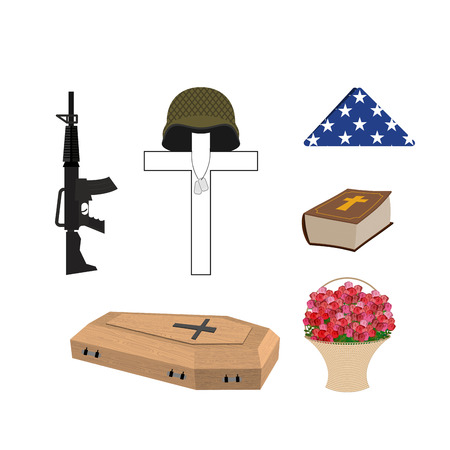 burial: Set for burial of the soldier. Military funerals. Helmet on cross. Bible and coffin. Machine gun and American flag.