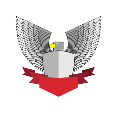 militant: White Hawk with shield and red Ribbon. Bird and shield heraldic symbol. Vector emblem Angry militant bird
