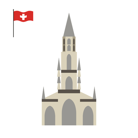 minster: Berne Cathedral. landmark of Switzerland. Architecture attraction of country. Vector illustration Illustration