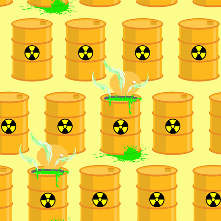 toxic substance: Chemical waste dump. Seamless pattern with barrels of biohazard. Vector background of yellow barrels of green acid.