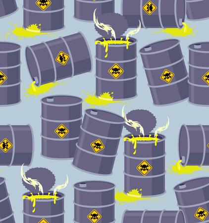hazardous waste: Dump barili di rifiuti tossici. Seamless pattern discarica rifiuti chimici pericolosi. Illustrazione vettoriale Bio Hazard