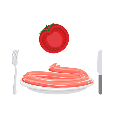 spaghetti bolognese: Red pasta with tomato ingredient. Spaghetti on a plate. Vector illustration of food